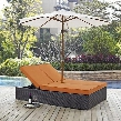 "Convene Collection EEI-2180-EXP-ORA-SET 82.5"" Double Outdoor Patio Chaise with Umbrella Polished 201 Stainless Steel Legs Aluminum Frame UV and Water"