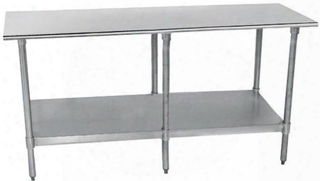 "Tt S-308-x Lite Series Work Table With Stainless Steel Undershelf And Legs Flat Top And Bullet Feet 30"" X"