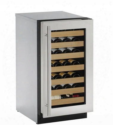 "U-2218wcs-00b 18"" 2000 Series Built-in Wine Cooler With 31 Bottle Capacity Convecction Cooling System 7 Full Extension Racks And Led Lighting: Stainless"