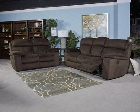 Uhland 6480315sl 2 Pc Living Room Set With Power Reclining Sofa + Power Reclining Lovesear In Chocolate