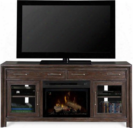 "Woolbrook Gds25gd1415wbn 68"" Contemporary Media Console Complete With Pf2325hg 25"" Glass Ember Bed Firebox Multi-function Remote Heat Boost In Nutmeg"