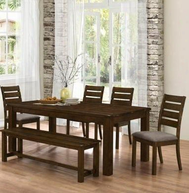 1063616pc Wiltshire Dining Set Including Table 4 Chairs And 1 Bench In Rustic Pecan