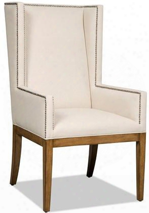 """Bayeaux Series 300-350035 47"""" Transitional-style Natural Dining Room Arm Chair With Tapered Legs Nail Head Accents And Fabric Upholstery In"""