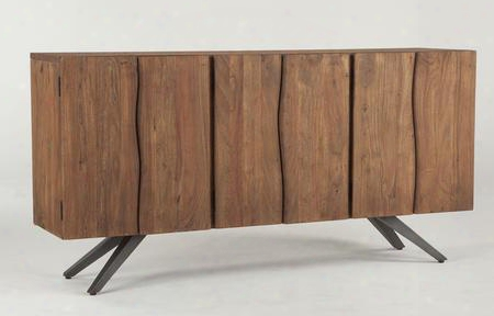 "Burghala Wbr7433 74"" Sideboard With Tapered Cast Iron Legs And Solid Acacia Wood Construction In Raw Walnut"