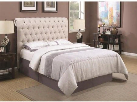 "Devon 300525w California King Upholstered Bed And 78"" Rolled Headboard In Beige"