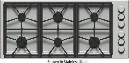 "Dtct466gwlph 46"" Distinctive Series Gas Cooktop With 6 Sealed Burners Permaclean Bead Blasted Finish Continuous Platform Grates And Perma-flame Technology:"