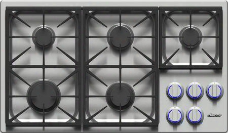 """Dyct365gsngh 36"""" Discovery Series Gas Cooktop With 5 Sealed Burners Illumina Burner Controls Simmersear Burners Permaclean Bead Blasted Finish And"""