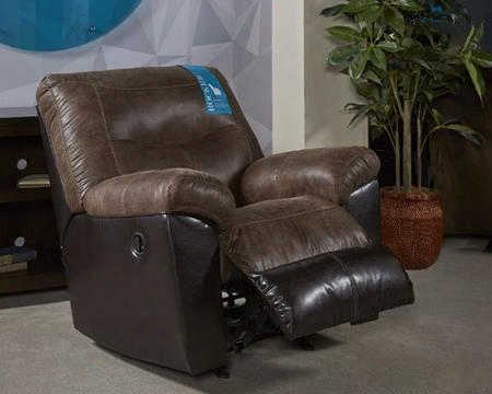 """Follett 6 520225 40"""" Rocker Recliner With Split Back Cushion Jumbo Stitching Pillow Top Arms And Fabric Upholstery In Chocolate"""