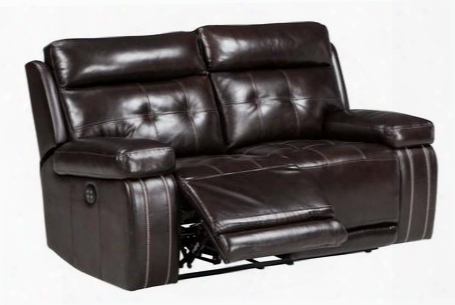 "Graford 6470214 65"" Power Recliner Loveseat With Adjustable Headrest Tufted Detailing Jumbo Stitching And Leather Upholstery In Walnut"