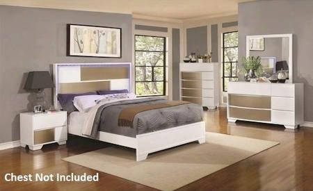 Havering Collection 204741kw California King Bed Night Stand Dresser And Mirror In Blanco & Sterling