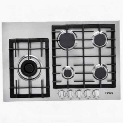 "Hcc3430ags 30"" Gas Cooktop With 5 Sealed Burners Triple Ring Burner Heavy Duty Continuous Cast Iron Grates Electronicignition And Knob Controls: Stainless"