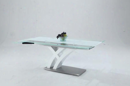 "Jillian-dt Jillian Starphire Glass - Clear/white Dining Table Top With Self Storng Leaves And ""z"" Shape"