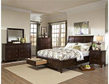 Jk-br-5050ks-rai-c King Size Bed With Storage Solid Wood Construction And Tapered Legs In Raisin