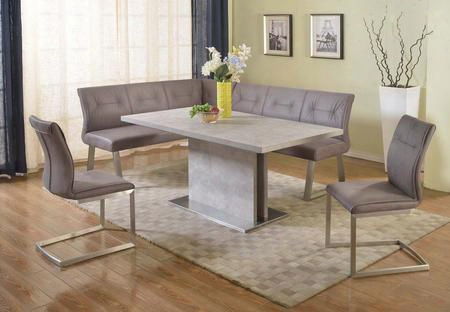 Kalinda-2pc Kalinda Dining Nook Set - Bufferfly Extension Laminated Grey Dining Table With Grey Fabric Tufted Back Reversible