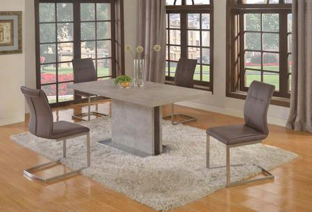 Kalinda-5pc Kalinda Dining 5 Piece Set - Grey Bufferfly Extension Laminated Dining Table With 4 Grey Fabric Cantilever Side