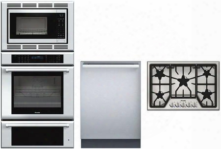 "Medmcw31jp 30"" Triple Combination Wall Oven Sgs305fs 30"" Gas Cooktop And Dwhd440mfm 24"" Fully Integrated"
