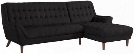 "Natalia 503778 108"" Sectional With Left Arm Facing Sofa Right Arm Facing Chaise Rubber Wood Legs Pine Wood Frame And Fabric Upholstery In Black"