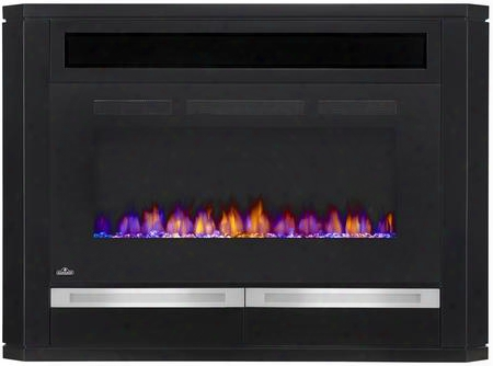 "Nefp42-1815b The Alanis 42"" Mantel Package Complete With Sliding Drawers Glass Doors Media Compartment And The Allure 42"" Electric Fireplace In Sleek Black"