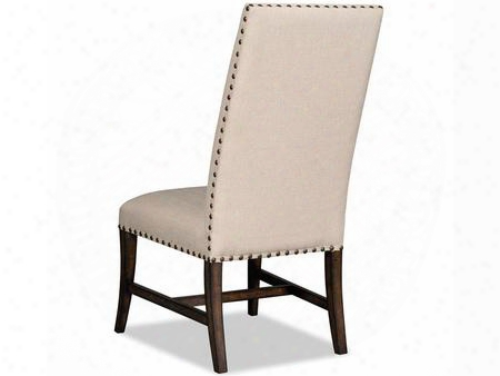 "Niche Series 300-50102 46"" Traditional-style Dining Room Desert Side Chair With Stretchers Nail Head Accents And Fabric Upholstery In"