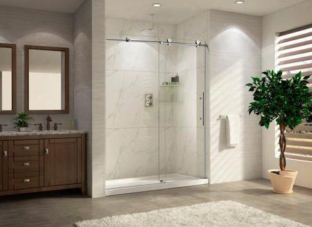 "Part-crsbs03676-brn Trident Lux - Premium 3/8"" In 10mm Thick Clear Tempered Glass Frameless Sliding Shower Door In Brush"