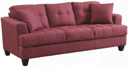 "Samuel Collection 505185 86"" Sofa With Tufted Cushions Accent Pillowincluded Coil Seats Pine Wood Frame And Fabric Upholstery In Crimson"