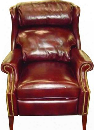 "Savoy Series Rc214-086 39"" Traditional-style Living Room Arles Recliner With Tapered Legs Nail Head Accents And Leather Upholstery In"