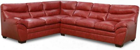 "Soho 951503c 176"" Sectional Sofa With Split Back Cushion Bonded Leather Stitched Detailing And Block Feet In Cardinal"