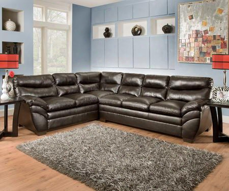 "Soho 951503e 176"" Sectional Sofa With Split Back Cushion Bonded Leather Stitched Detailing And Block Feet In"