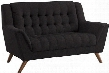 "Baby Natalia 511035 63.5"" Loveseat with Mid-Century Design Flared Tapered Arms Tufted Cushions Eucalyptus Wood Frame and Chenille Upholstery in Black"