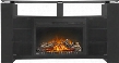"NEFP27-1015B The Foley 27"" Mantel Package Complete with Smoke Tempered Glass Top and Doors and the Cinema 27"" Electric Fireplace in Semi Gloss Black"