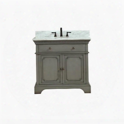 "Hastings-vs36-fg-c Hastings 37"" Vanity In French Gray Finish With Carrera White Marble"