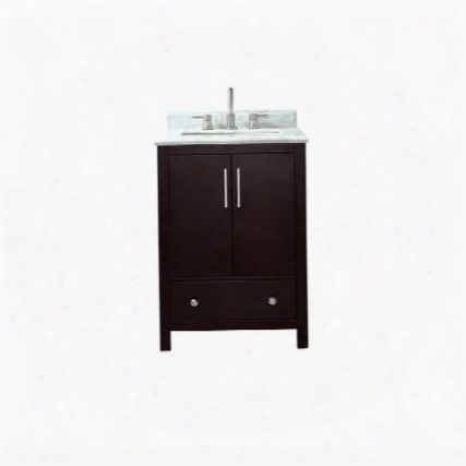 "Rockford-vs24-de-c Rockford 25"" Vanity In Dark Espresso Finish With Carrera White Marble"