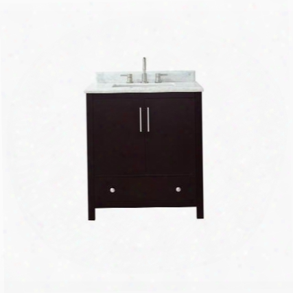 "Rockford-vs30-de-c Rockford 31"" Vanity In Dark Espresso Finish With Carrera White Marble"