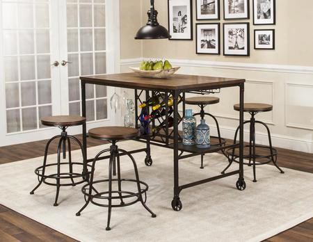 Rustic Elm Industrial Collection Cr-w3075-68-5pc 5 Pc Bar Table Set With Pub Table + 4 Bar