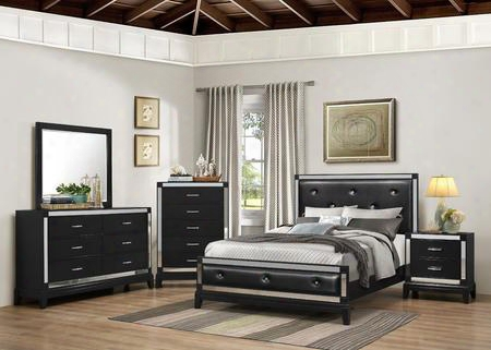 1003-6652/68sk City Lights Bedroom Set King Dresser Mirror Chest And Nightstand Bed With Button Tufting Tapered Legs And Molding Detail In
