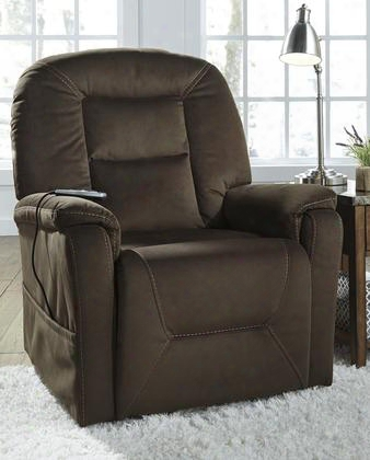 "2080112 Samir 36.5"" Power Lift Recliner With Remote Control Heat-and-massage Element Jumbo Stitching Crescent Back Design And Fabric Upholstery In Coffee"