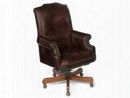 "Appomattox Series Ec214 48"" Traditional-style Campaign Home Office Executive Swivel Tilt Chair With Nail Head Accents Adjustable Height And Leather Upholstery"