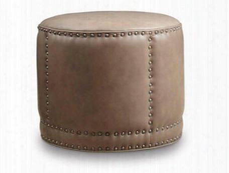 "Aspen Series Co389-084 19"" Traditional-style Living Room Lenado Round Cocktail Ottoman With Nail Head Accents Piped Stitching And Leathery Upholstery In"