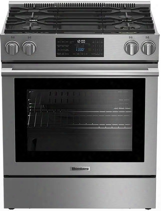 "Bgr30420ss 30"" Slide-in Gas Range With 4 Burners 5.7 Cu. Ft. Oven Capacity Convection Porcelain Top And Self-cleaning Oven In Stainless"