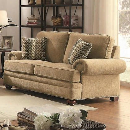 """Colton 505852 67"""" Traditional Love Seat With Rolled Arms In Wheat Fabric"""