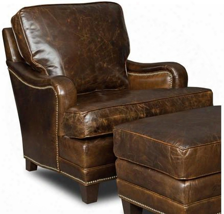 "Covington Series Cc403-087 36"" Traditional-style Living Room Parish Club Chair With Cushion Back Nail Head Accents And Leather Upholstery In"