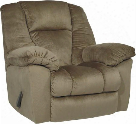 """Darden 2650125 47"""" Rocker Recliner With Overstuffed Pillow Top Armrests Split Back Cushion And Fabric Upholstery In Driftwood"""