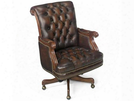 "Derby Series Ec277 44"" Traditional-style Fairplex Home Office Executive Swivel Tilt Chair With Adjustable Height Tufted Back And Leather Upholstery In"