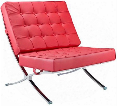 Fmi4000p-red Pavilion Chair With Italian Leather Stainless Steel Frame And Button Tufted Details In
