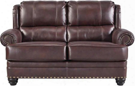 "Glengary 3170035 68"" Leather Match Loveseat With Rolled Arms Nail-head Accents And Split Back Design In Chestnut"