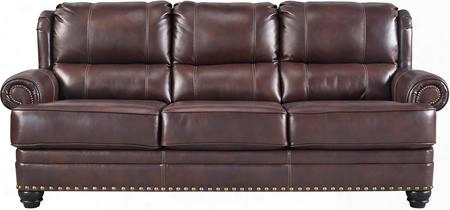 """Glengary 3170038 89"""" Leather Match Sofa With Rolled Arms Nail-head Accents And Split Back Design In Chestnut"""