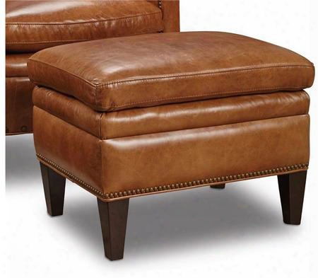 "Huntington Series Cc419-ot-085 24"" Traditional-style Living Room Morrison Ottoman With Nail Head Accents Tapered Legs And Leather Upholstery In"