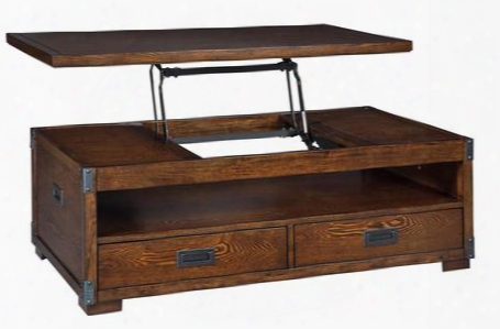 "Jakeley T899-9 48"" Lift Top Cocktail Table With 2 Bottom Drawers Open Shelf And Metal Bracket  Accents In Medium"
