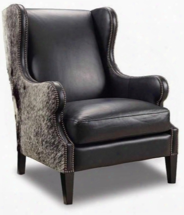 """Milestone Series Cc415-099 44"""" Traditional-style Living Room Coal And Salt & Pepper Hoh Club Chair With Wing Back Tapered Legs And Leather Upholstery In"""