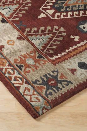 "Oisin R401331 126"" X 96"" Large Size Rug With Wool Material And Machine Washable In Brick"